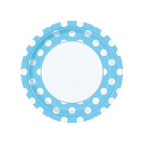 Talerzyki urodzinowe błękitne w białe kropki - 23 cm - 8 szt.