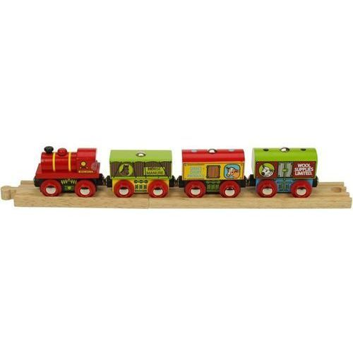 Pociąg z produktami z farmy do zabawy dla dzieci, wyposażenie kolejek bigjigs marki Bigjigs toys