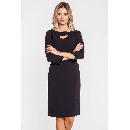 b792c95c52 Czarna sukienka z dekoracyjnym dekoltem - Paola Collection