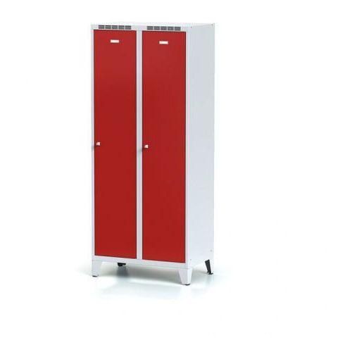 Metalowa szafka ubraniowa z przegrodą, na nogach, czerwone drzwi, zamek obrotowy marki Alfa 3