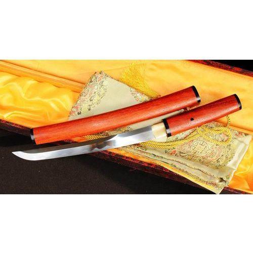 Sztylet samurajski tanto, stal wysokowęglowa 1095, saya z drewna różanego r362 marki Kuźnia mieczy samurajskich