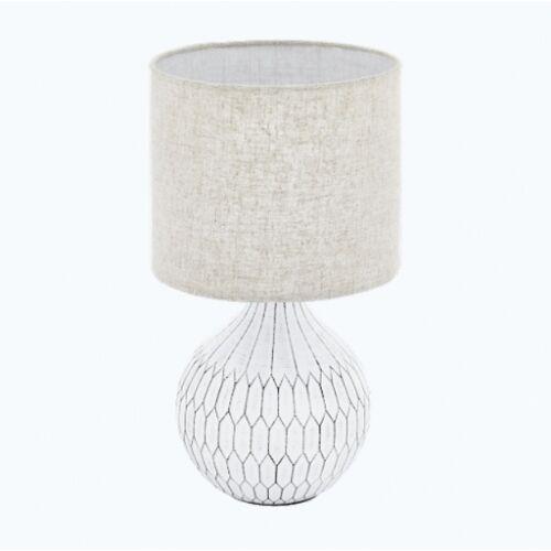 Eglo 99332 bellariva 3 oprawa stołowa ceramika biały / tkanina, len jasno brązowy