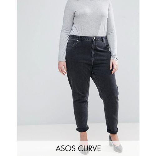 ASOS CURVE FARLEIGH High Waist Slim Mom Jeans In Washed Black - Black