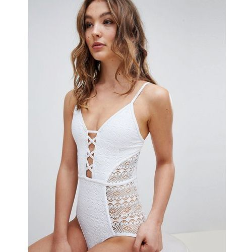 New Look Mixed Mesh Plunge Swimsuit - White