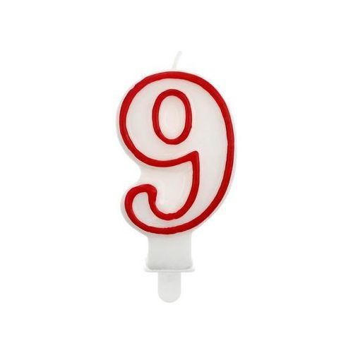 """Świeczka cyferka z czerwoną obwódką dziewiątka - """"9"""""""