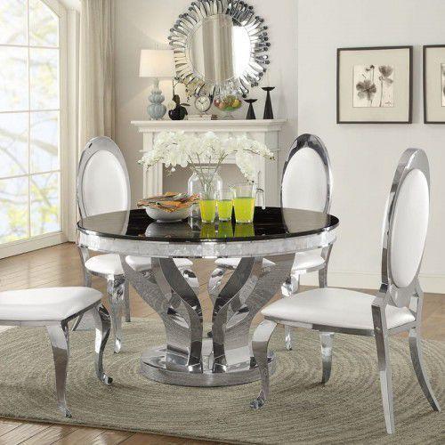 Stół glamour Davson okrągły - stal szlachetna blat szklany nowoczesny (5908273395630)