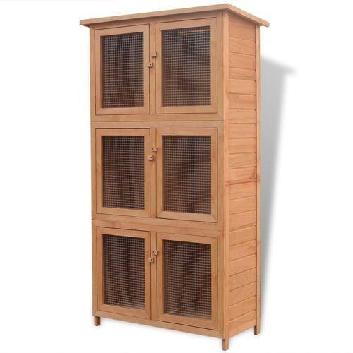 Vidaxl  klatka dla królików lub innych zwierząt, 6 komór, z drewna