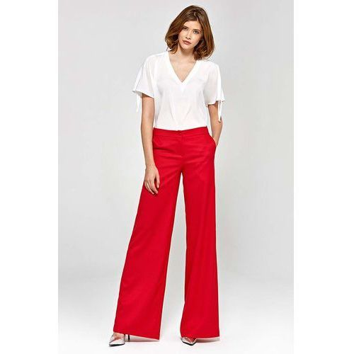 Czerwone Stylowe Spodnie Damskie z Szerokimi Nogawkami, w 5 rozmiarach