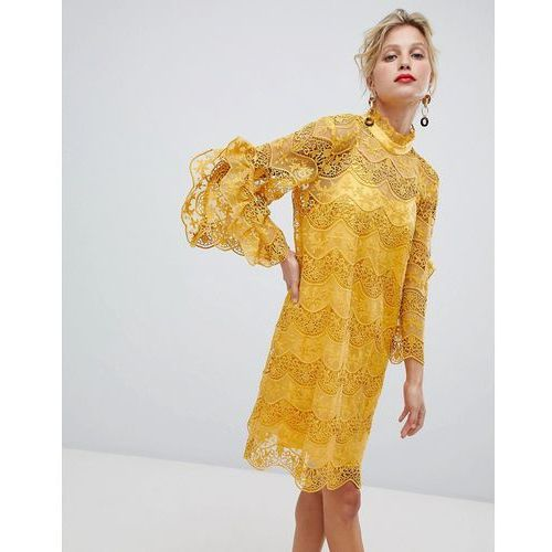 Y.A.S High Neck Lace Dress With Frill Sleeve - Yellow