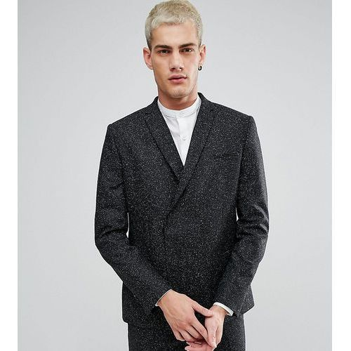 skinny double breasted suit jacket in fleck - black marki Noak