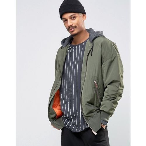 bomber jacket in oversized fit with ma1 pocket with jersey hood in khaki - green, Asos