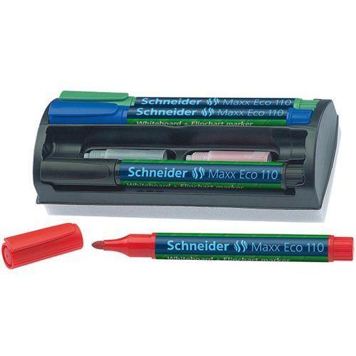 Zestaw markerów do tablic SCHNEIDER Maxx Eco 110, okrągły, 1-3 mm, 4 szt., miks kolorów
