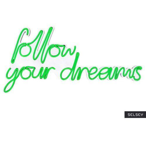SELSEY Neon na ścianę Letely z napisem Follow Your Dreams zielony (5903025616940)