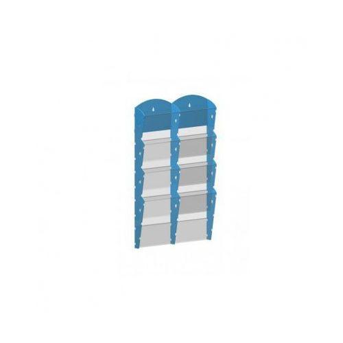 Plastikowy uchwyt ścienny na ulotki - 2x4 A4, niebieski