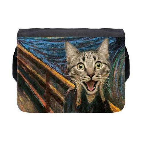 Torba na ramię duża Cat Scream Paint, kolor czarny
