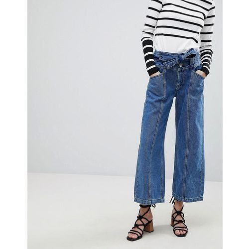 River Island Belted Crop Wide Leg Jeans - Blue, jeansy