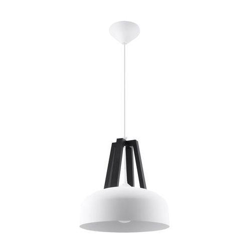 Lampa Wisząca CASCO Biała/Czarne Drewno SL.0387 - Sollux - Black Friday - 21-26 listopada (5902622428864)