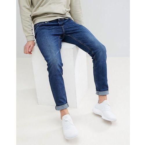 Bershka Skinny Jeans In Dark Blue - Blue