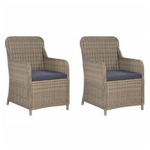 Krzesła ogrodowe z poduszkami Grafton 2 szt - brąz, vidaxl_44147