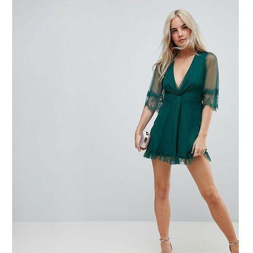 dobby knot front lace trim mini skater dress - green, Asos petite