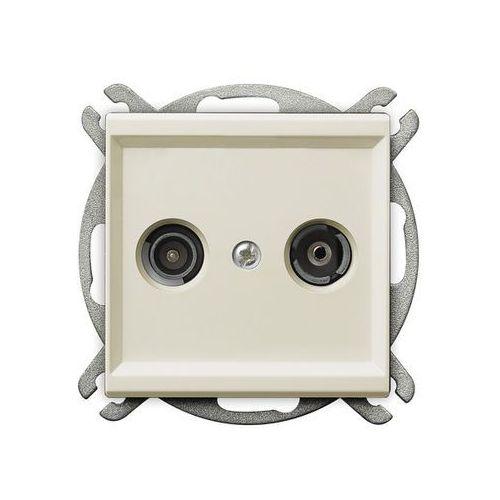 Gniazdo antenowe RTV przelotowe 14dB Ecru - GPA-14RP/m/27 Sonata (5907577444907)