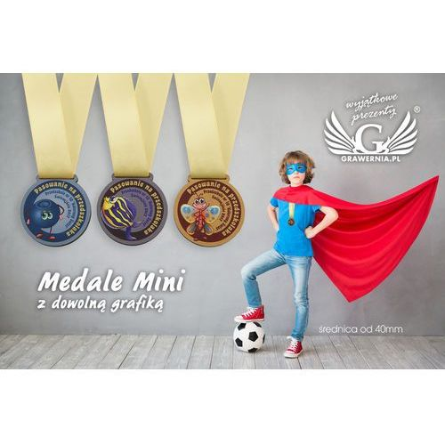 Medale drewniane mini z dowolną grafiką - średnica od 40mm - druk UV