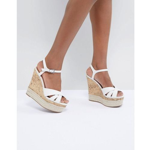 New Look Leather Look Cork And Espadrille Wedge - White
