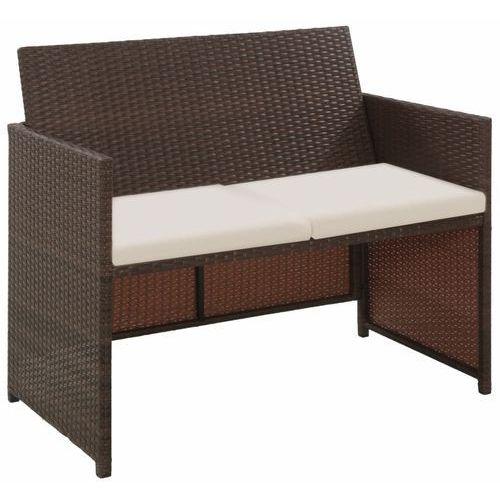 vidaXL 2-osobowa sofa ogrodowa z poduszkami, polirattan, brązowa (8718475601401)