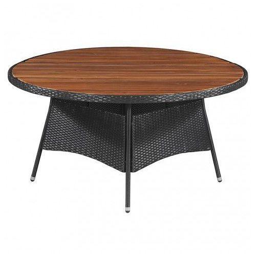 Stół ogrodowy z drewnianym blatem midia 2q - czarny marki Elior