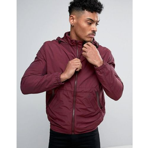 French connection lightweight harrington jacket with hood - red