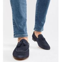 wide fit bolton tassel loafers in navy suede - navy, H by hudson