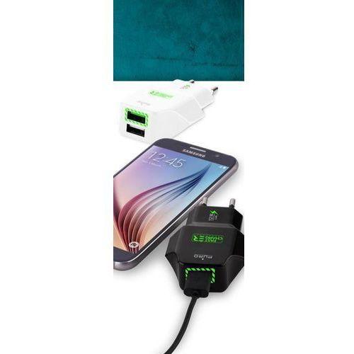 Puro travel fast charger - przenośna ładowarka sieciowa 2 x usb, 2.4 a z niebieskim podświetleniem led (czarny) (8033830139222)
