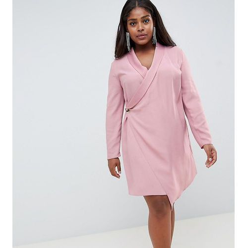 Asos curve Asos design curve mini tux dress with long sleeves - pink