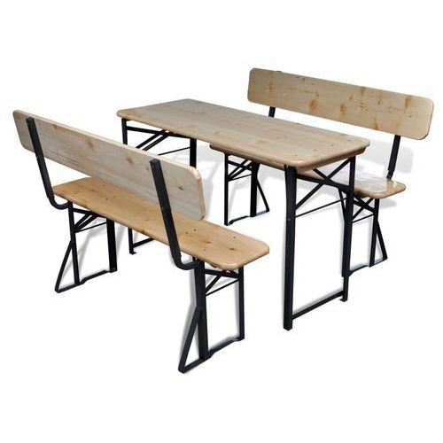 składany stół piwny i 2 ławki drewniane z oparciem marki Vidaxl