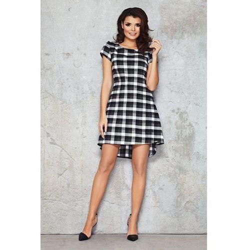 Czarna Casualowa Sukienka w Kratkę z Krótkim Rękawem, kolor czarny