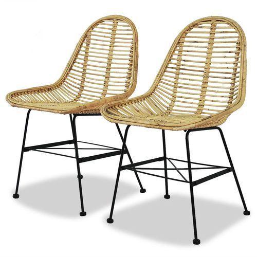 vidaXL Krzesła do jadalni, 2 szt., naturalny rattan