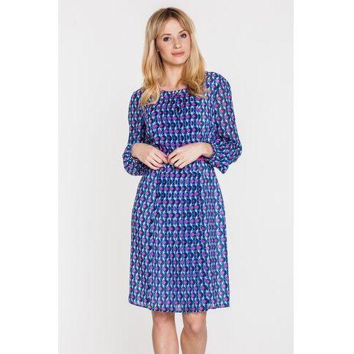 Wzorzysta sukienka z paskiem - marki Potis & verso