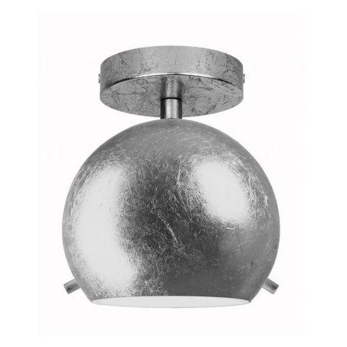 Natynkowa LAMPA sufitowa MYOO ELEMENTARY CP 1/C/SILVER LEAVES/OPAL Sotto Luce szklana OPRAWA plafon kula ball srebrna, MYOO ELEMENT CP 1/C/SL LEAF/OP
