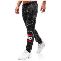 Spodnie męskie dresowe joggery czarne Denley 55068