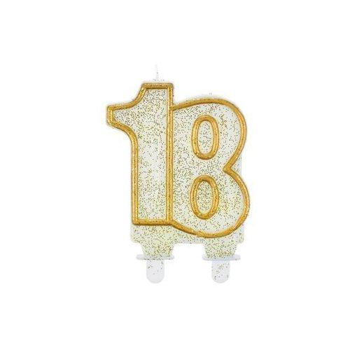 Świeczka na 18-tke z brokatem i złotą obwódką - 1 szt. (5901238638933)