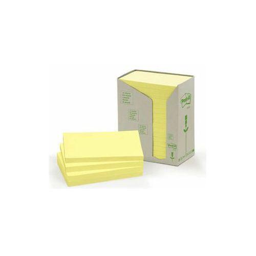 3m Post-it bloczek ekologiczny tower, 76 x 127mm, żółty pastel, 16 sztuk po 100 karteczek