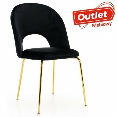 Emwomeble Krzesło tapicerowane ▪️ kc-903-2 ▪️ welur zielony, nogi złoty chrom