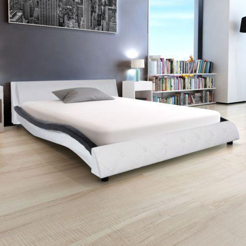 Vidaxl  273870 łóżko ze sztucznej skóry z materacem 140x200 cm czarne i białe