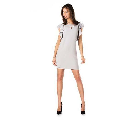 ebc9085ede Szara ołówkowa sukienka z falbankami na ramionach marki Merribel