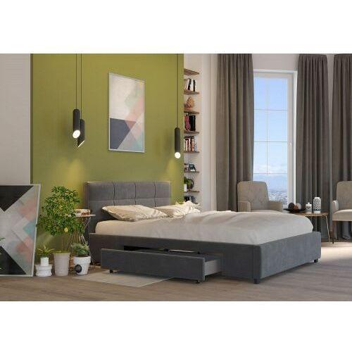 Big meble Łóżko 140x200 tapicerowane arezzo + 2 szuflady welur ciemno szare