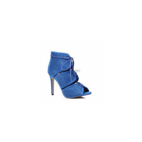 Ażurowe wiązane sandałki na szpilce niebieskie, kolor niebieski