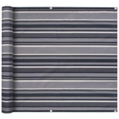 parawan balkonowy z tkaniny oxford, 75x400 cm, szare paski marki Vidaxl