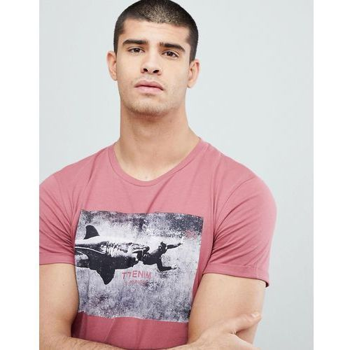 t-shirt with shark chest print - pink, Tom tailor, S-XL