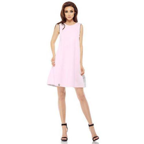 ca5ba11d91 Różowo jasnoszara trapezowa sukienka z satynową falbanką marki Lemoniade