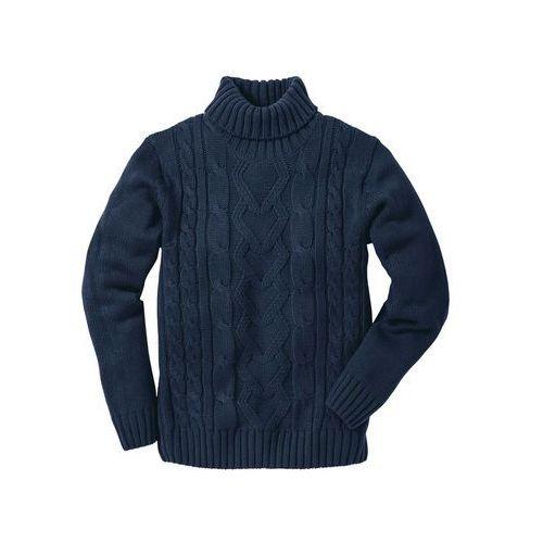 Sweter z golfem bonprix ciemnoniebieski, kolor niebieski